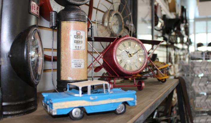 Clock and model car in Museum Store